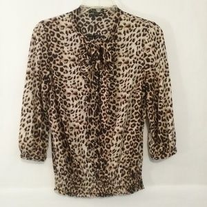 Twentyone animal print blouse ruffle neck